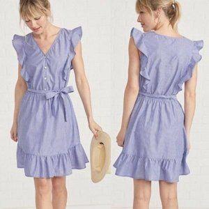 Amour Vert Addison Dress Blue White Stripe Ruffle